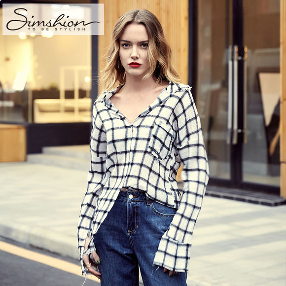Loose Long Sleeve Button Lattice Tops S M L - Shop Livezy Lane