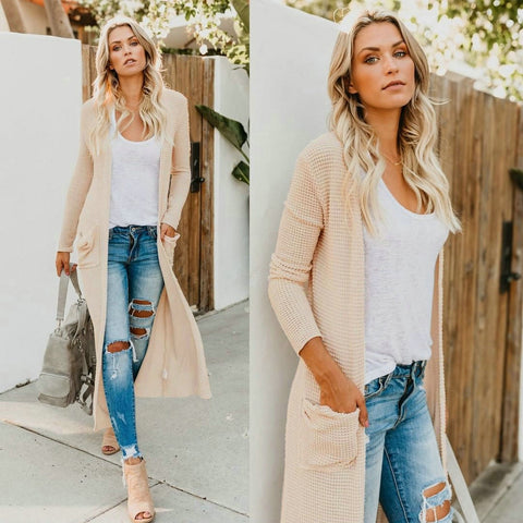 Casual Long Sleeve V Neck Open Stitch Solid Slim Long Sweater - Shop Livezy Lane