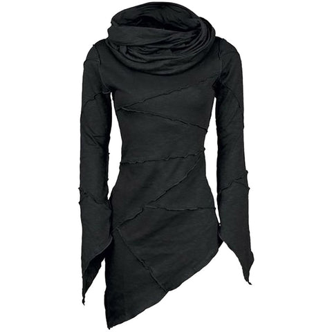 Slim Turtleneck  Scarf Collar Asymmetric Top