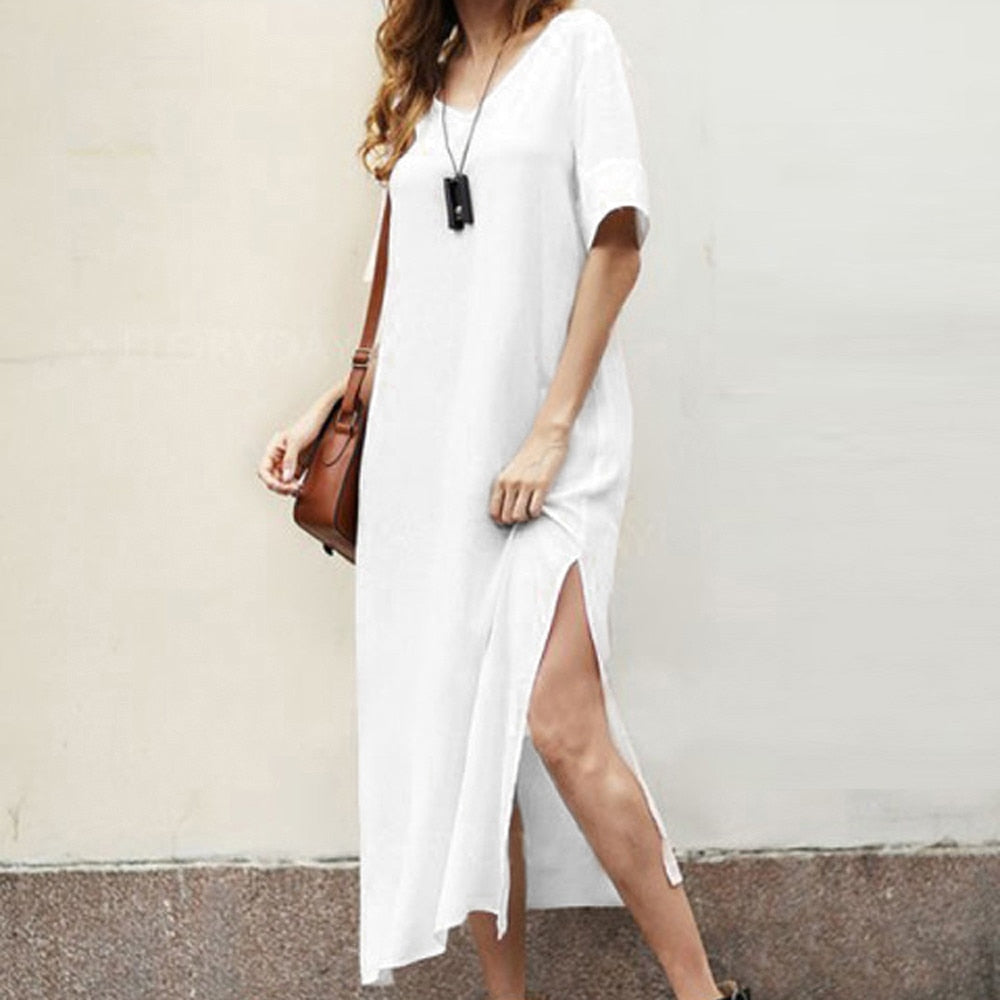 Retro Half Sleeve Bohemia Loose Solid White Tunic Shirt Dress - Shop Livezy Lane