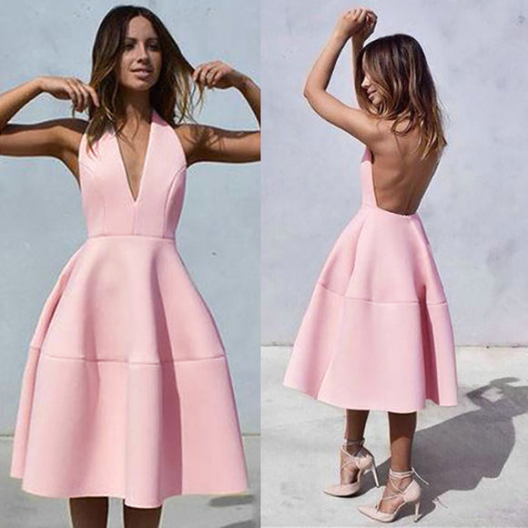 Pink Halter  Backless A-line Sexy Dress - Shop Livezy Lane
