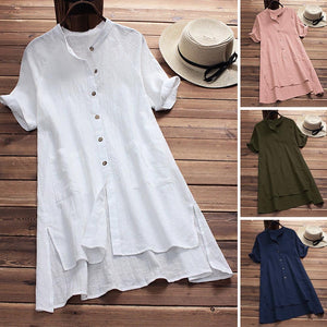 Long Sleeve Turn-down Collar Asymmetric Casual Loose Tunic - Shop Livezy Lane