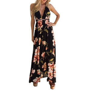 Sexy Sleeveless Boho Floral Printed Maxi Dress
