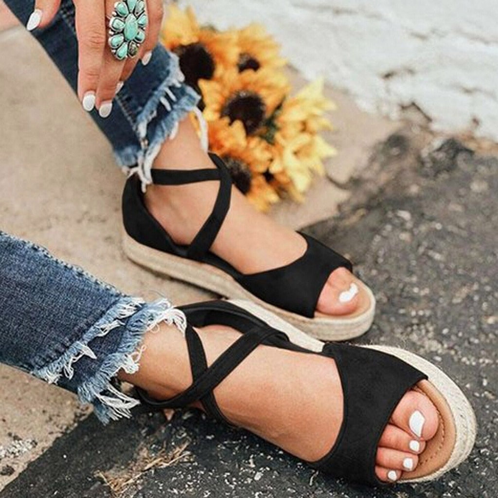 Platform Sandals Peep Toe Woven Zipper Women Shoes - Shop Livezy Lane