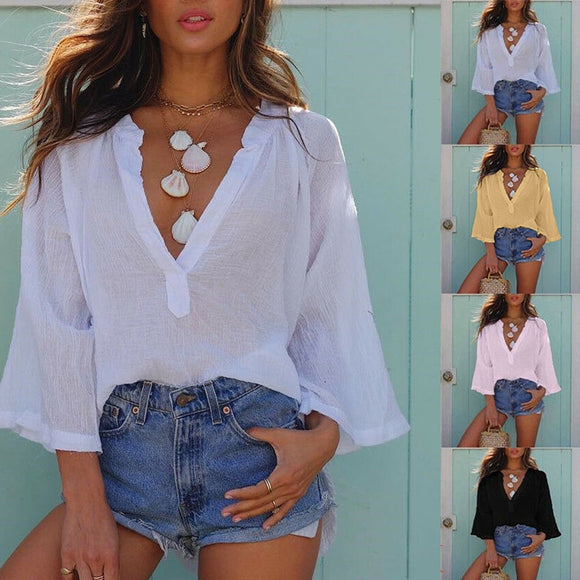 V Neck Loose Ladies Batwing Casual Summer Blouse