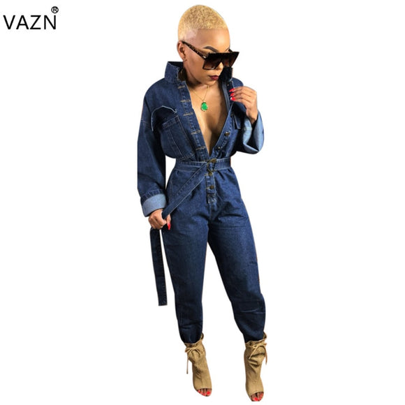 Sexy 2-Toned Button Denim Jumpsuit - Shop Livezy Lane