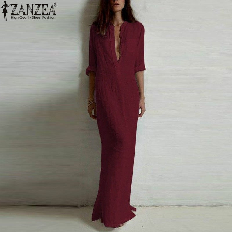 Elegant Sexy Boho Deep V  Solid Floor-length Dress - Shop Livezy Lane