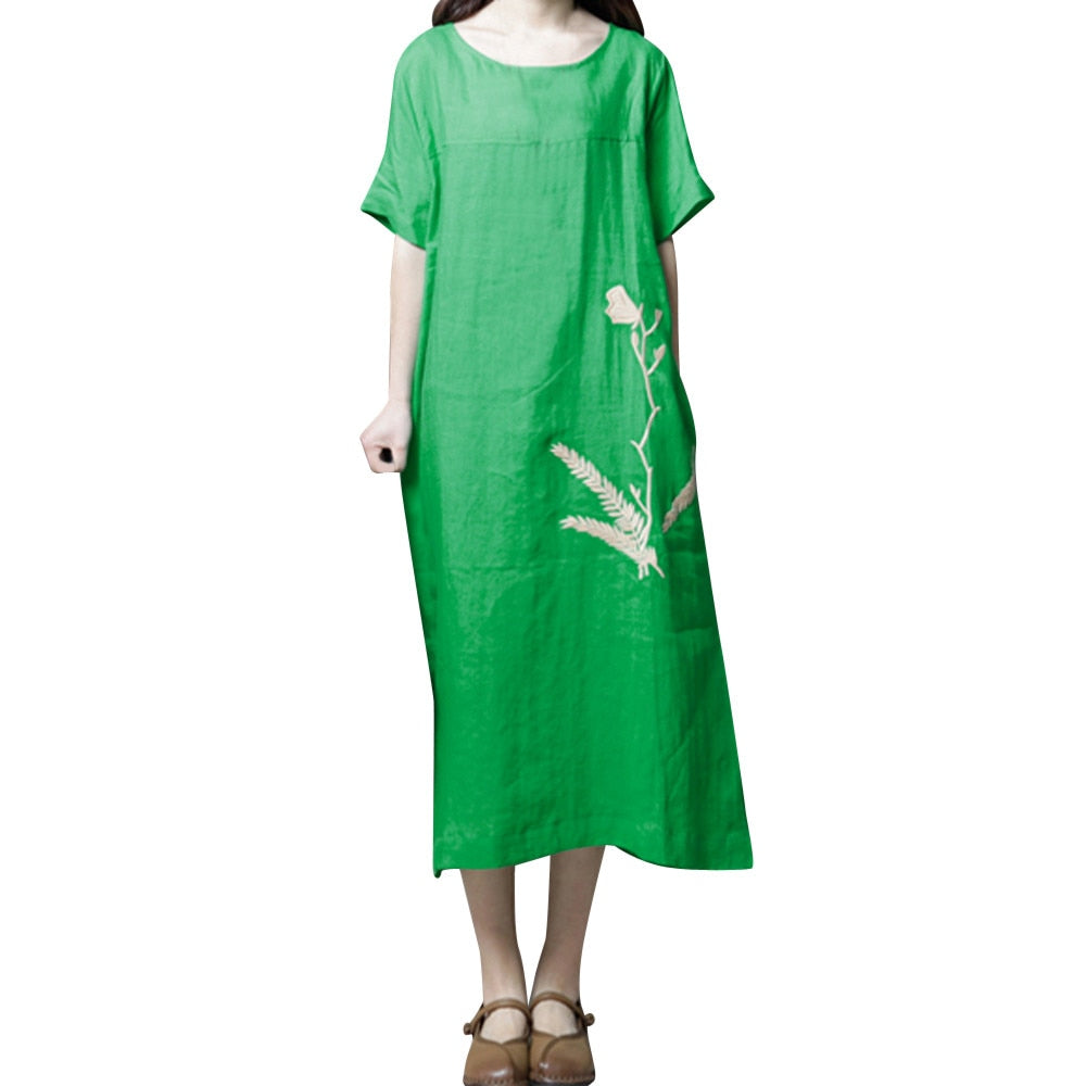 Cotton Casual Embroidery Dress Solid Loose Dress - Shop Livezy Lane