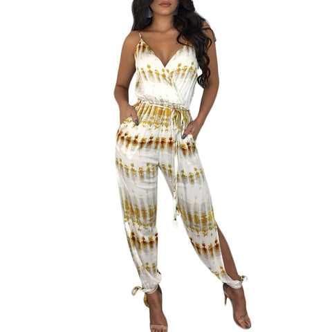 Deep V-neck Striped Jumpsuit  Sash Pockets Overalls - Shop Livezy Lane