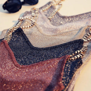 Glitter Tank Tops - V-Neck Knitted Camisole Sleeveless Bling Tops - Shop Livezy Lane