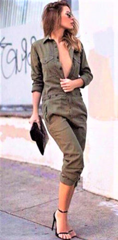 Bodycon Long-sleeved Army Green Romper - Shop Livezy Lane