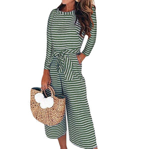 Long Sleeve Stripe Wide Leg Romper - Shop Livezy Lane