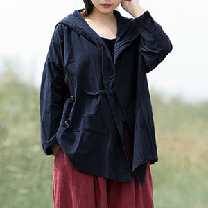 Kimono Style Hooded Long Sleeve Blouse - Shop Livezy Lane