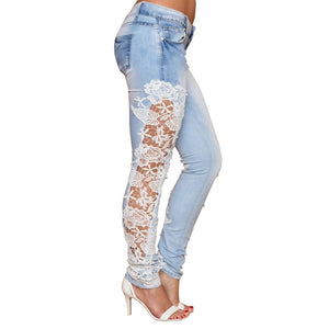 Lace Skinny Pencil Denim Stretch Jeans - Shop Livezy Lane