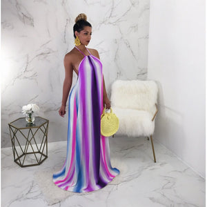 Striped Print Bohemian Maxi Dress Elegant / Boho Evening Dress