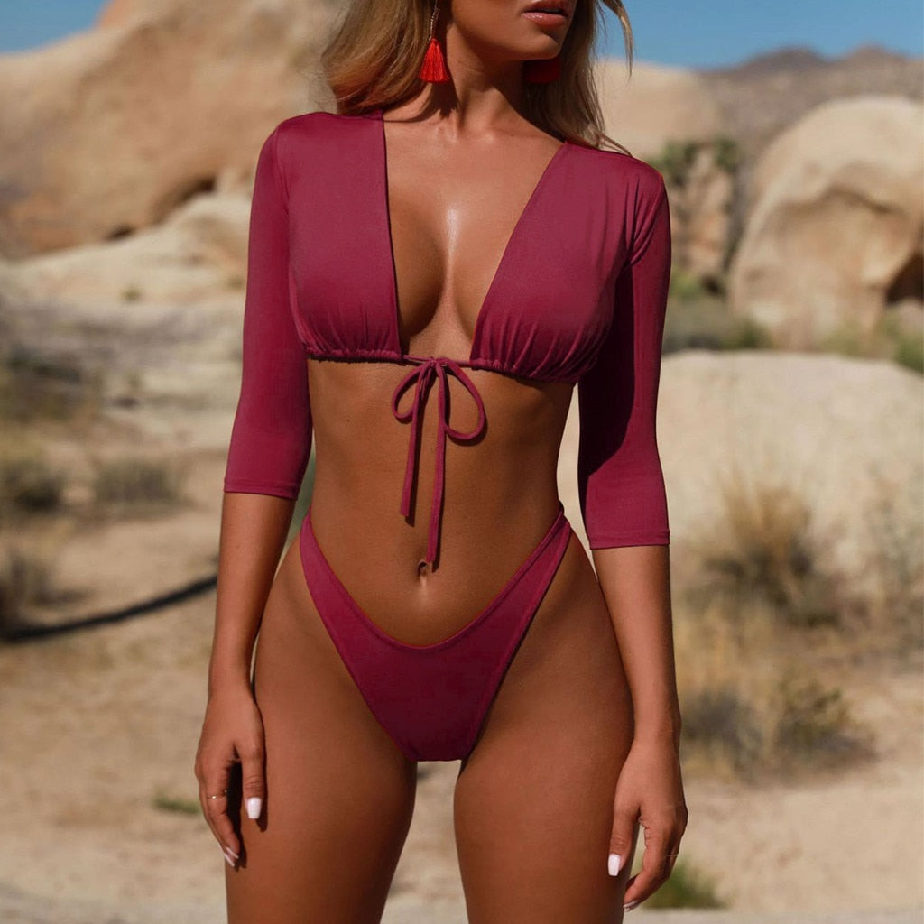Two-Piece 3/4 Sleeve Bikini Swimsuit