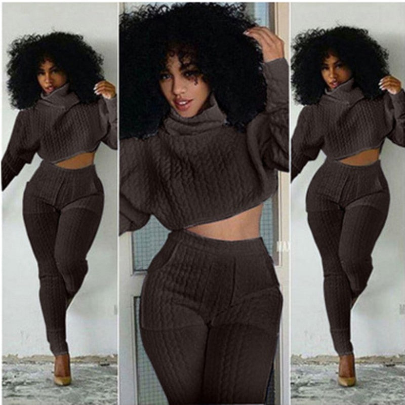 Two Piece Knit Fitted Crop Top and Pants Set  S-XXL