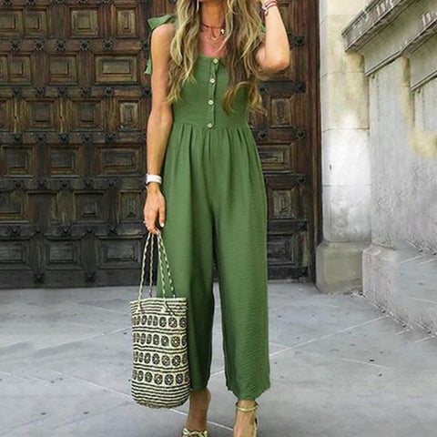 2019 Summer Solid With Buttons Rompers/Jumpsuit - Shop Livezy Lane
