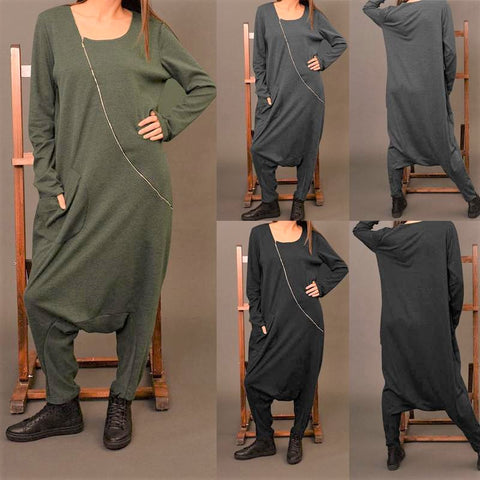 Women's Long Sleeve Drop Crotch Jumpsuit