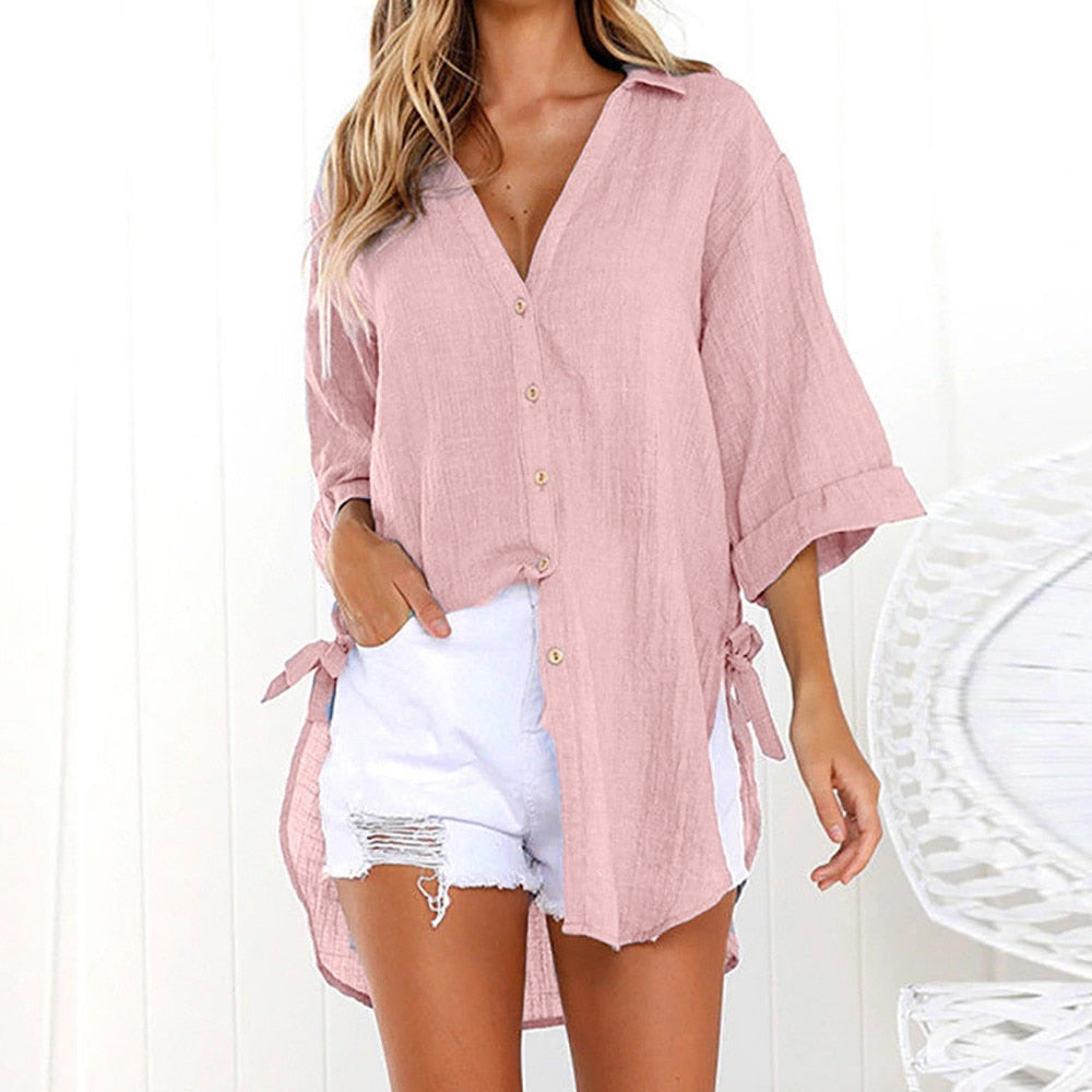 Boho Ladies Causal Loose Button Long Shirt Cotton - Shop Livezy Lane
