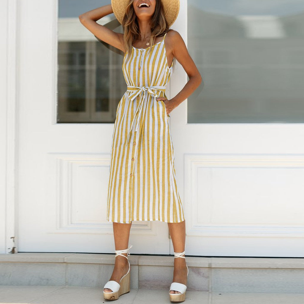 Stripe Camisole Sleeveless Dress