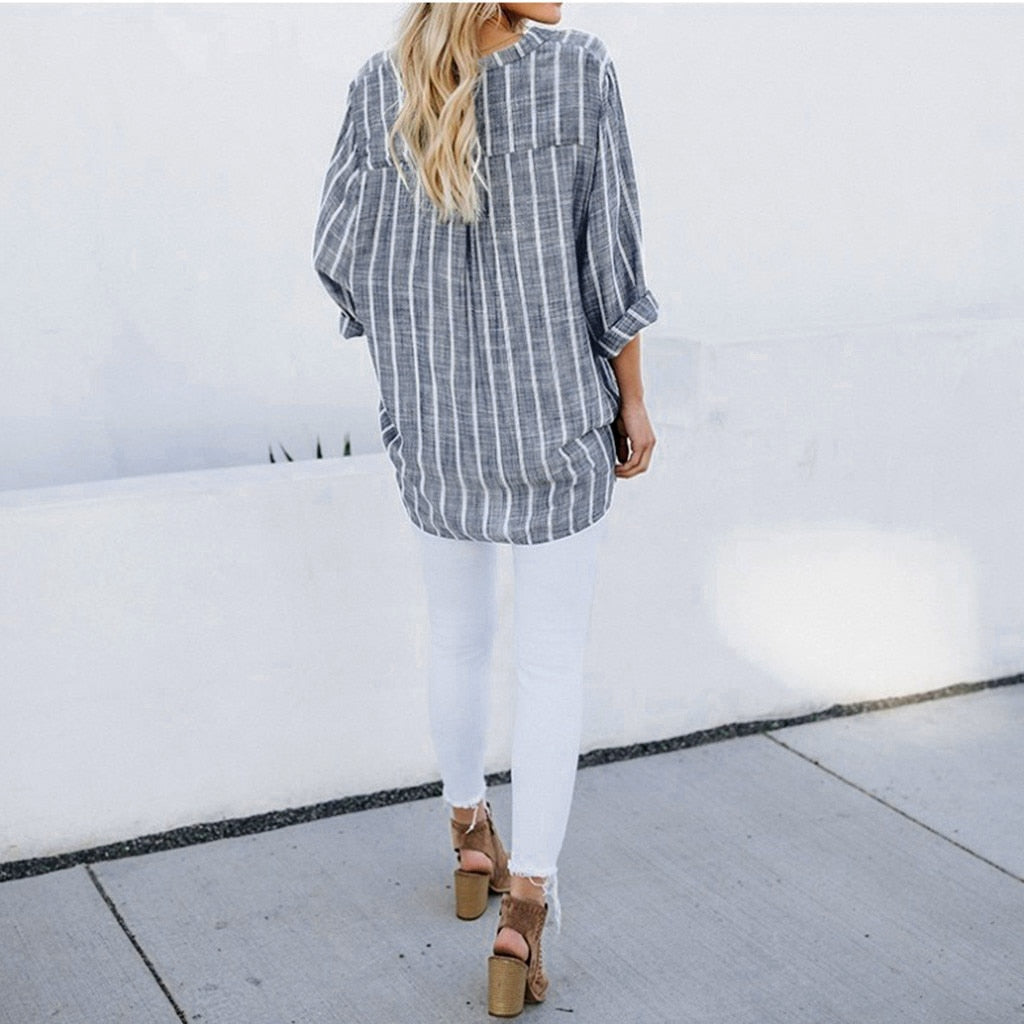 Streetwear Stripe Women Tops Tunic Long Sleeve V Neck Blouse