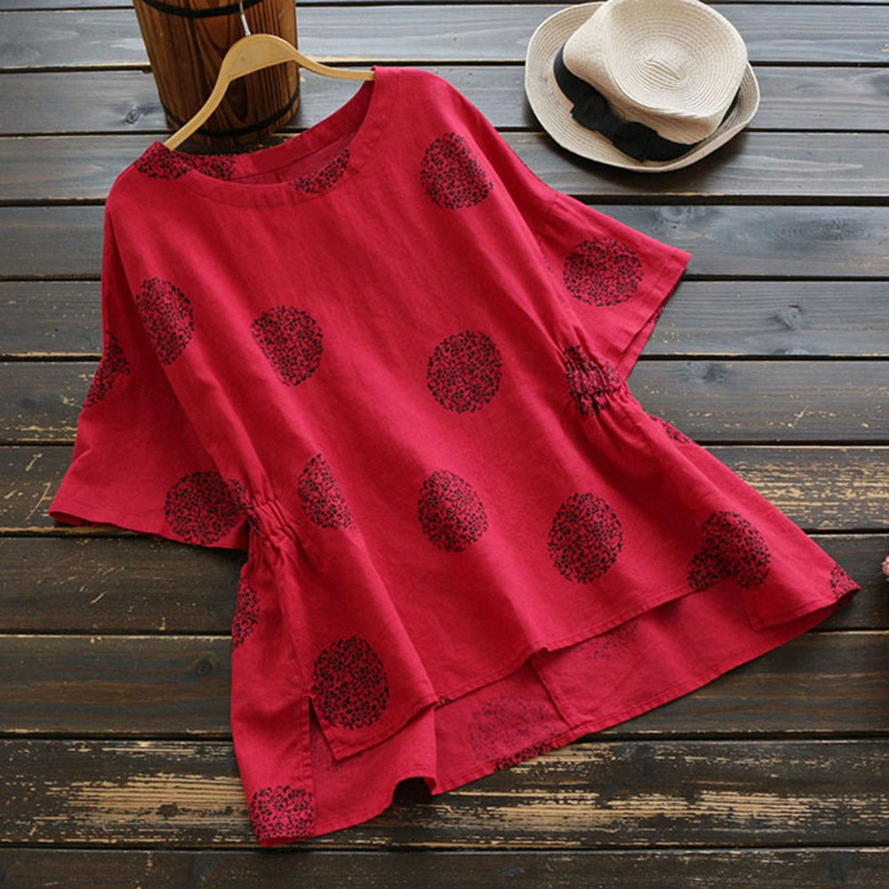 Dot Print Loose Cotton Short Sleeved Shirt Vintage Blouse - Shop Livezy Lane