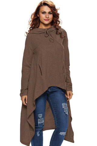 Brown Drawstring Long Sleeve High Low Sweater
