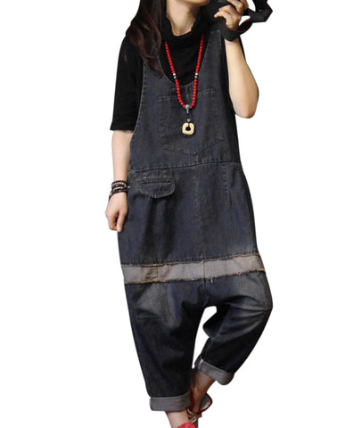Drop Crotch Denim Overalls Contrast Color Stitched - Shop Livezy Lane