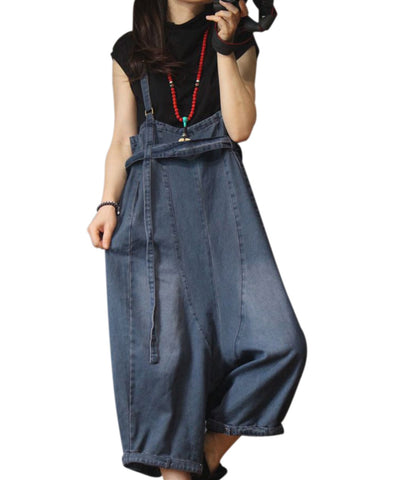 Denim Ultra Low Crotch Wide Leg Distressed Overalls - Shop Livezy Lane