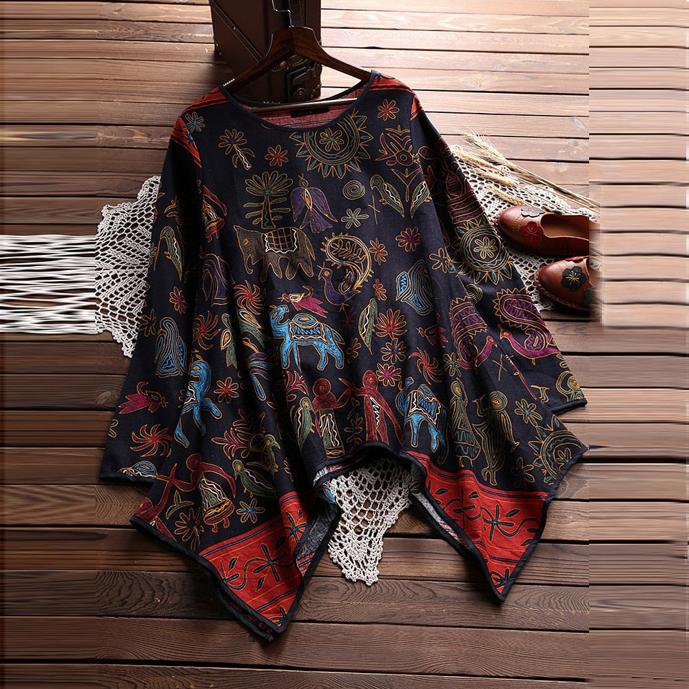 Long Sleeve Print Loose Blouse Pullover - Shop Livezy Lane