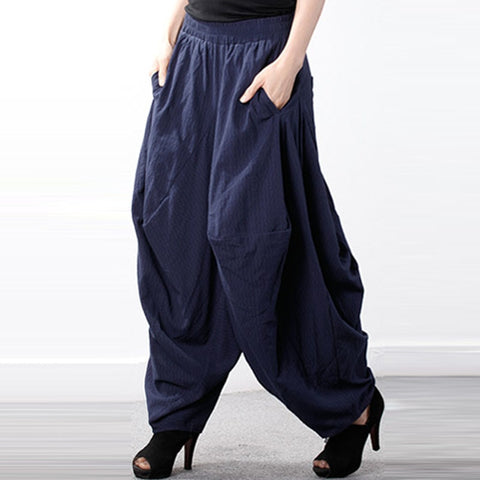 Elastic High Waist Retro Baggy Drop-Crotch Trousers  - M/5XL - Shop Livezy Lane