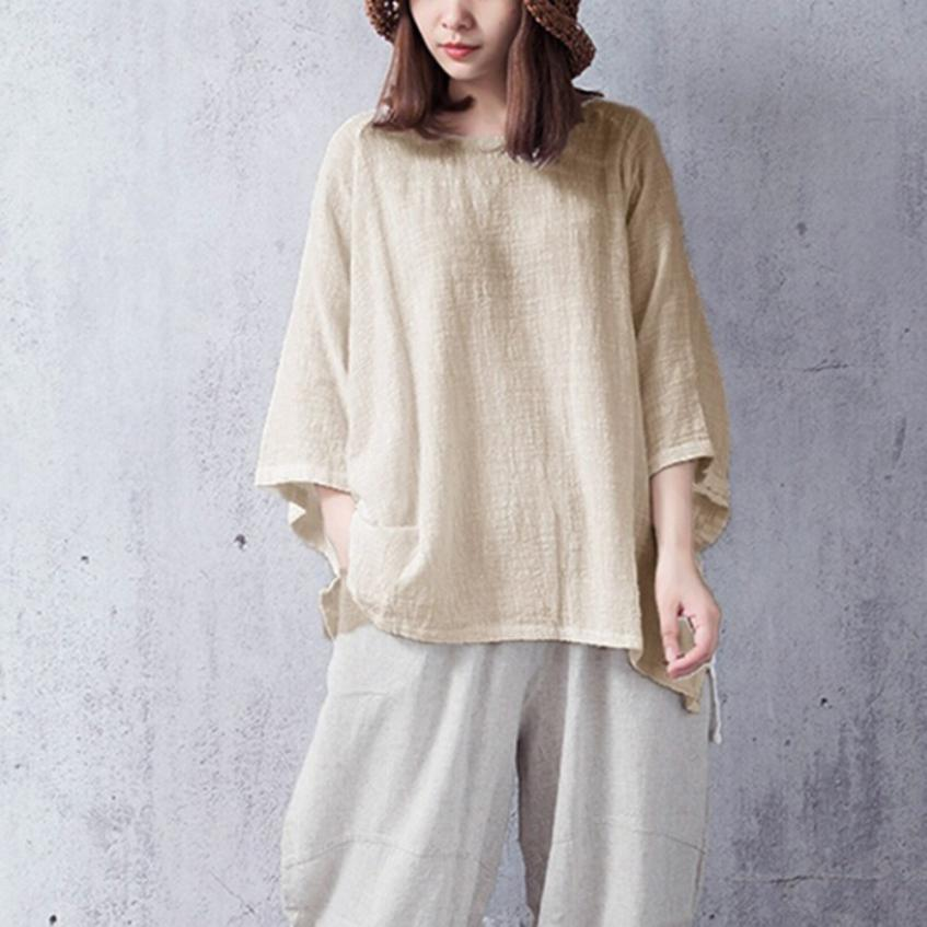 Solid Color Cotton-Linen Top - Shop Livezy Lane