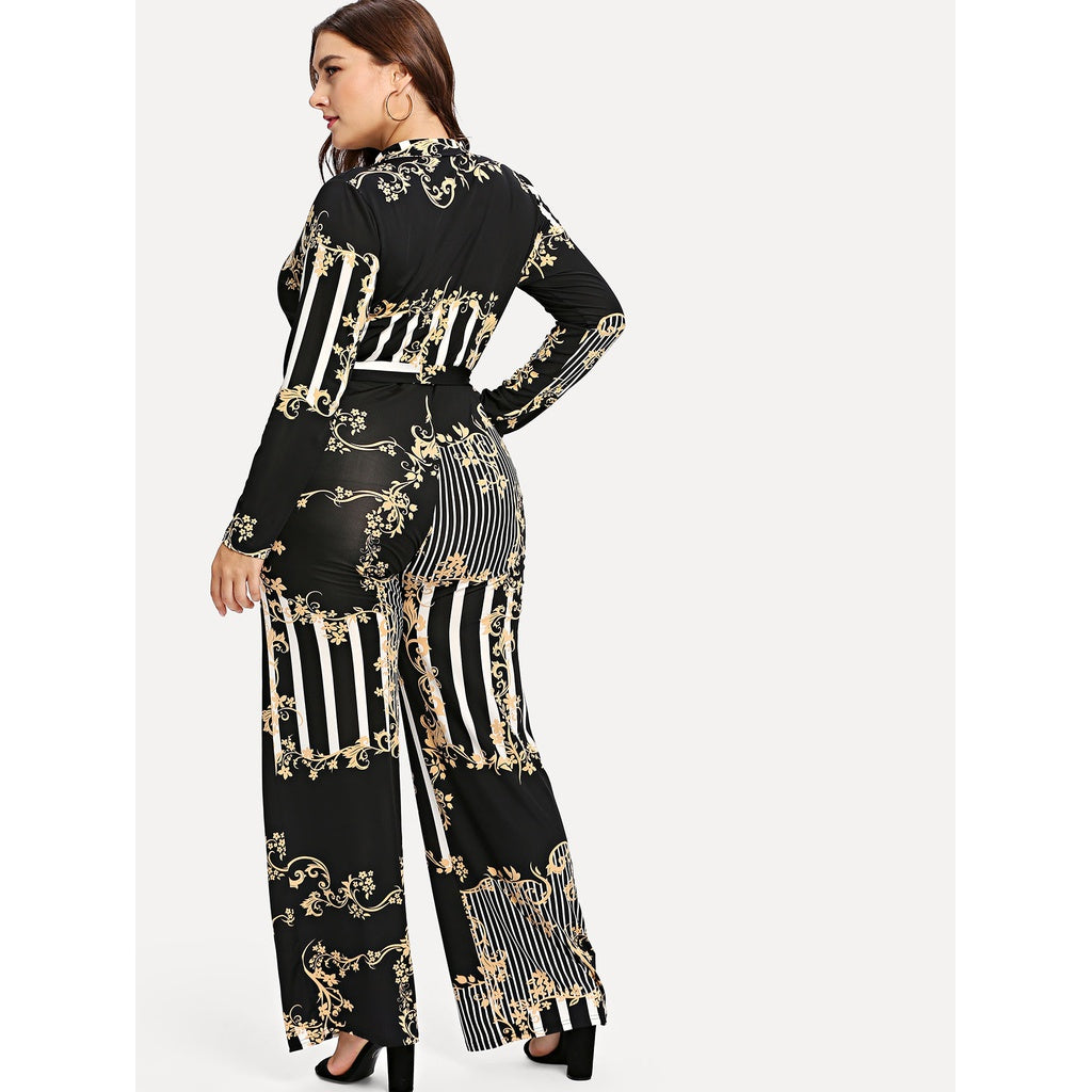 Plus Mixed Print Surplice Wrap Jumpsuit - Shop Livezy Lane