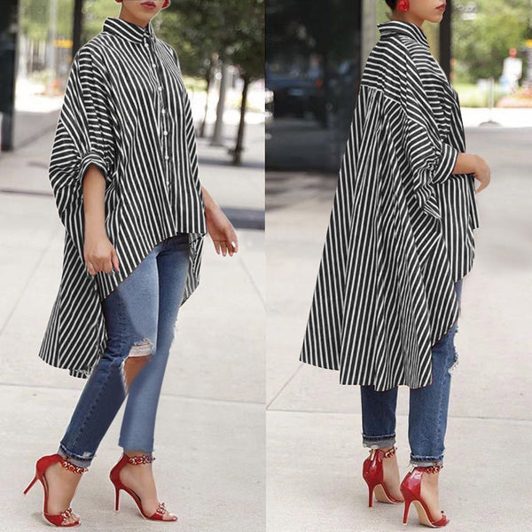 Cotton Striped Three Quarter Sleeve Shirt Casual Loose Blouse - Shop Livezy Lane