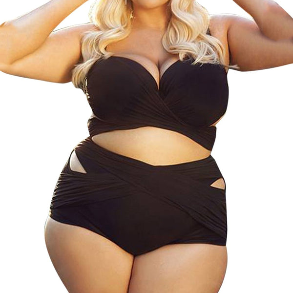 High Waist Solid Padded Two Piece Swimsuit - Shop Livezy Lane