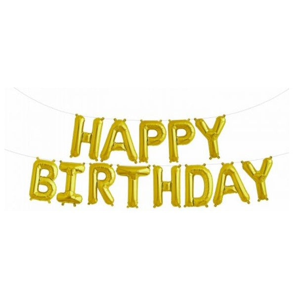 Gold Happy Birthday Script Foil Balloon