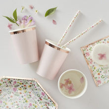 Load image into Gallery viewer, Ditsy Floral Rose Gold Polka Dot Cups (PK8)