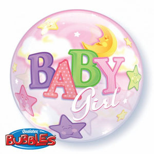 Baby Girl Moon & Star Bubble Balloon