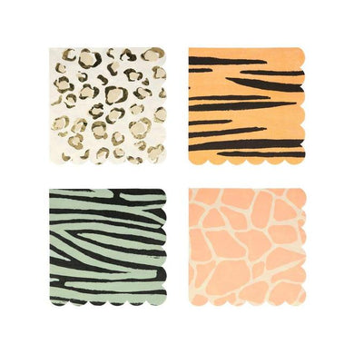 Safari Animal Print Large Napkins (PK16 in 4 designs)