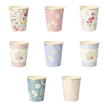 Load image into Gallery viewer, English Garden Party Cups (PK8 in 8 designs)