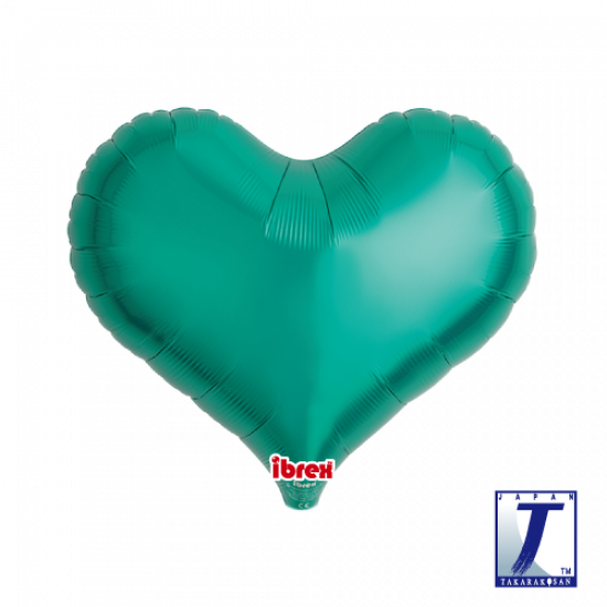 Metallic Green Jelly Heart Foil Balloon (unpackaged)