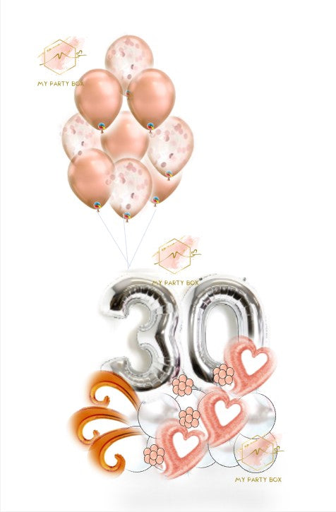 Silver Number Balloon Bouquet with Rose Gold