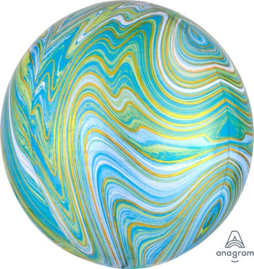 Marble Blue and Green Orbz Foil Balloon
