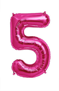 "34"" Pink Foil Number Balloon - 5"