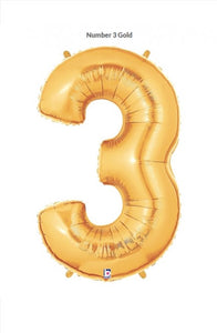 "40"" Gold Foil Number Balloon - 3"