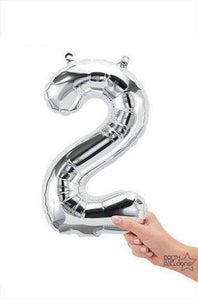 "16"" Silver Foil Number Balloon - 2 (Air-Fill)"