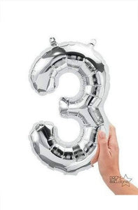 "16"" Silver Foil Number Balloon -3 (Air-Fill)"