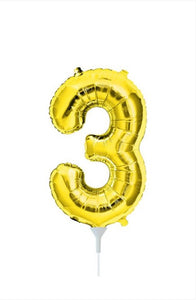 "16"" (41cm) Gold Foil Number Balloon - 3 (Air-Fill)"
