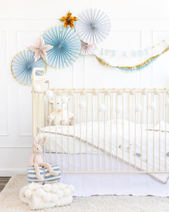 Cream/Blue/Gold Crepe Paper Banner